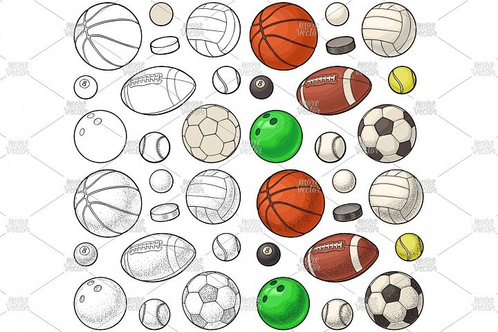 Set different kinds sport balls. Engraving vintage vector