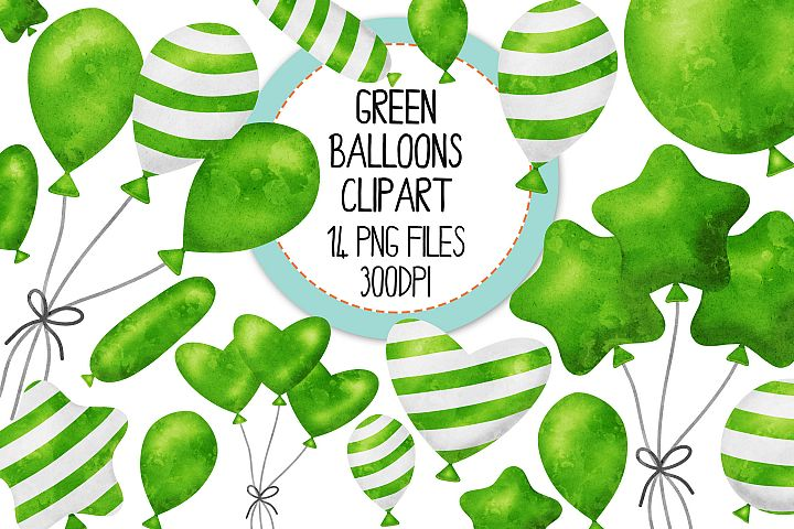Green Watercolor Balloon Clipart Set