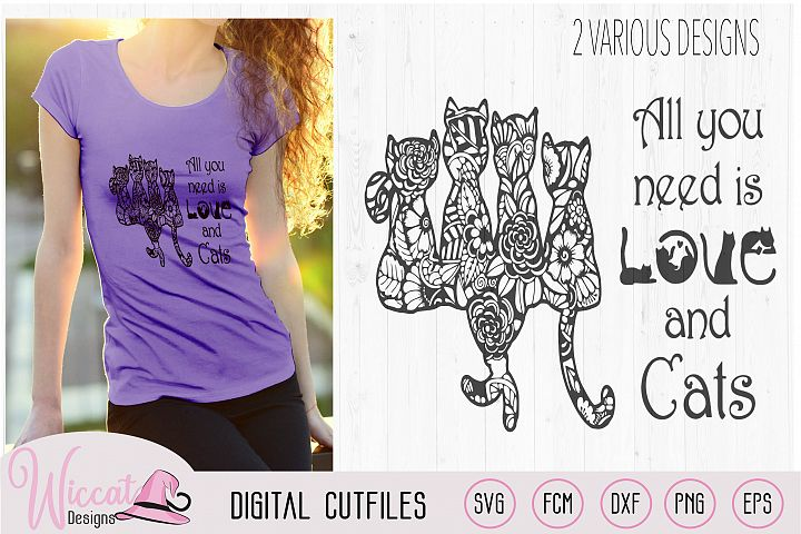 Doodle cats all you need is love, cat quote svg, word art,