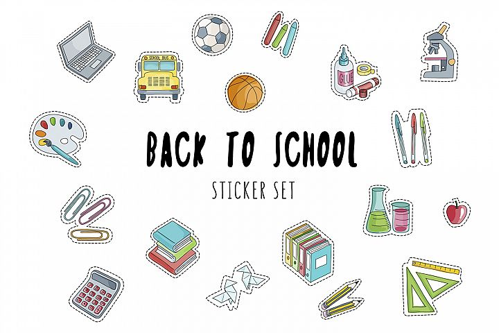 Back to School Stickers Set
