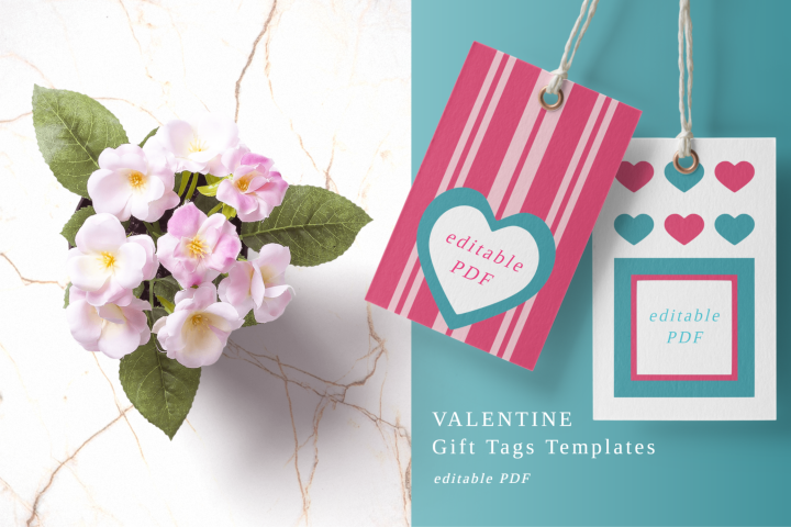 Printable Valentine Hang Tags With Dots Hearts Stripes PDF