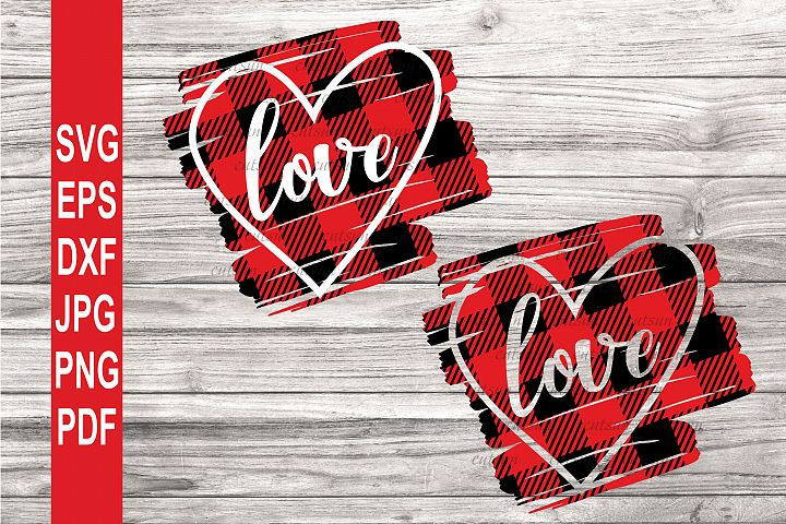 Valentine SVG| Heart Love SVG | Heart on a plaid scribble SV