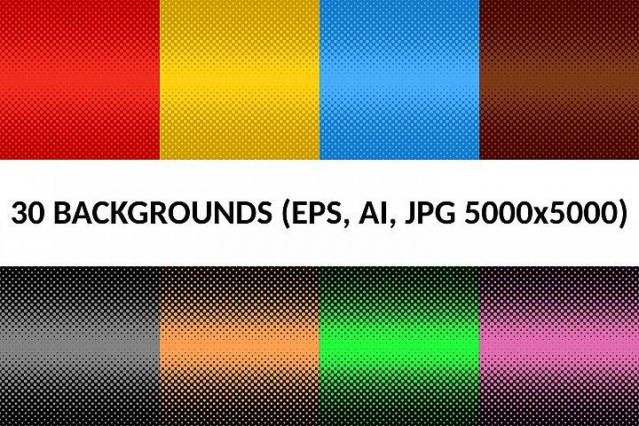 30 Halftone Dot Backgrounds (AI, EPS, JPG 5000x5000)