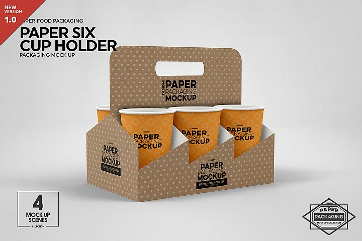 Paper Six Cup Carrier/Holder Packaging Mockup