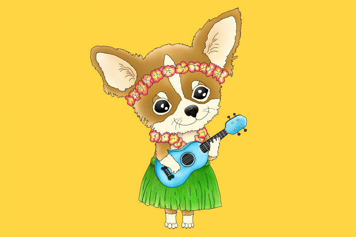 Hawaiian Chihuahua playing a Ukulele | PNG/JPEG Clip Art