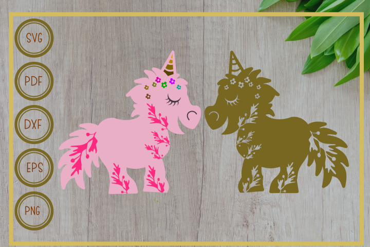 Unicorn svg, Unicorn pink & gold, instant download, cut file