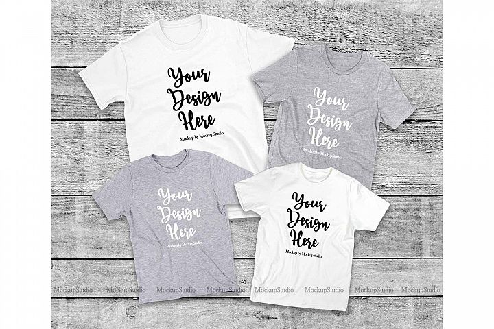 Matching Family T-Shirts Mockup, Parents Kids Shirt Flat Lay