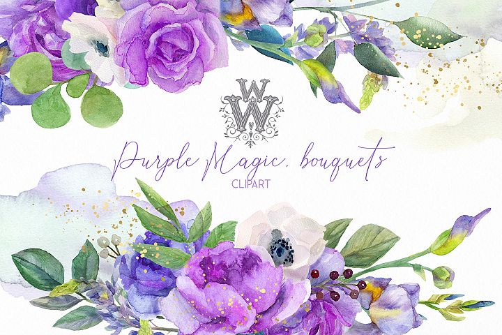 Watercolor purple bouquets clipart wedding arrangement