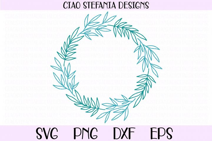 Leaves Wreath Laurel Frame SVG PNG DXF EPS Cut File
