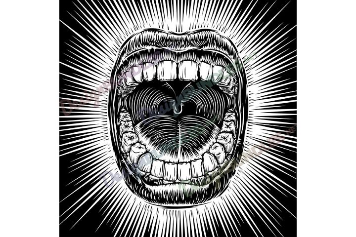 Vector Mouth Open Scream Ink Draw Vintage Tattoo Print Beam