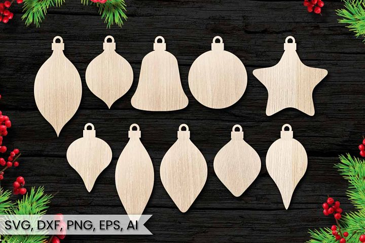10 Christmas Ornaments, Cut File, Instant Download