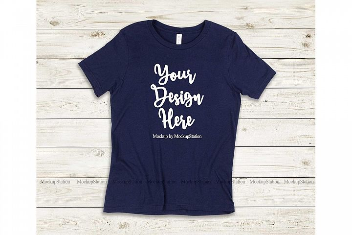 Kids Navy Tshirt Mockup, Youth Shirt Bella Canvas 3001Y