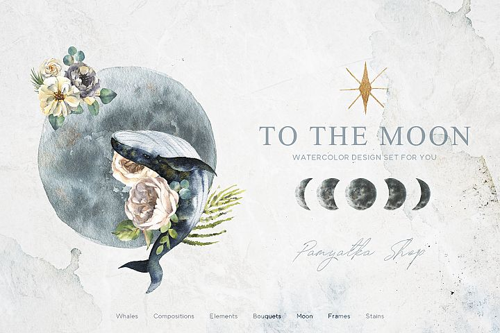 TO THE MOON. Watercolor set