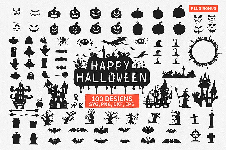 100 Hand drawn elements- Halloween designs, Halloween quotes