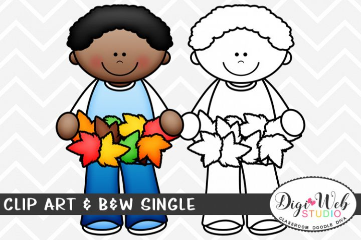 Clip Art & B&W Single - Boy Holding Fall Leaves