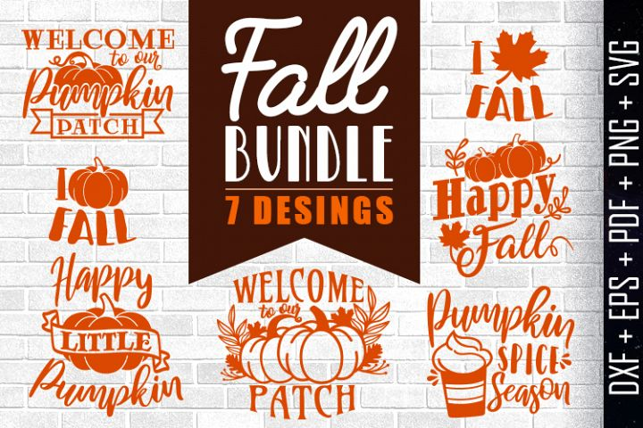 Fall Bundle 7 Desings Silhouette Vector dxf eps pdf png svg