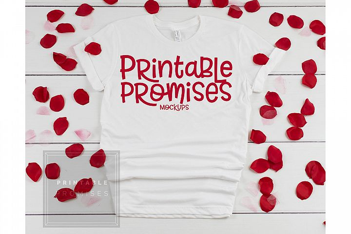 Bella Canvas 3001 White Valentines Shirt Mockup Flatlay