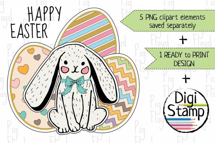 Bunny Easter Eggs Clipart