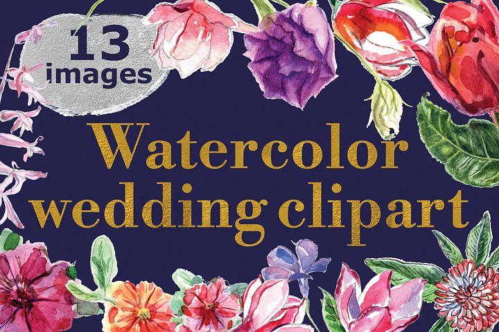 Watercolor wedding clipart
