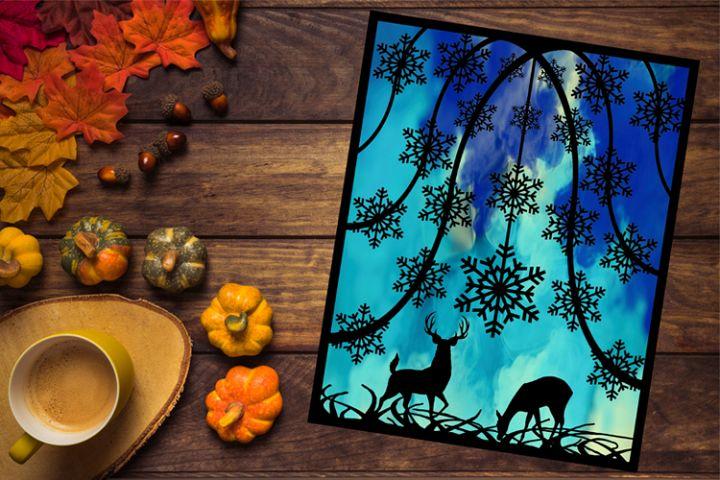 Woodland Deer Papercutting Template