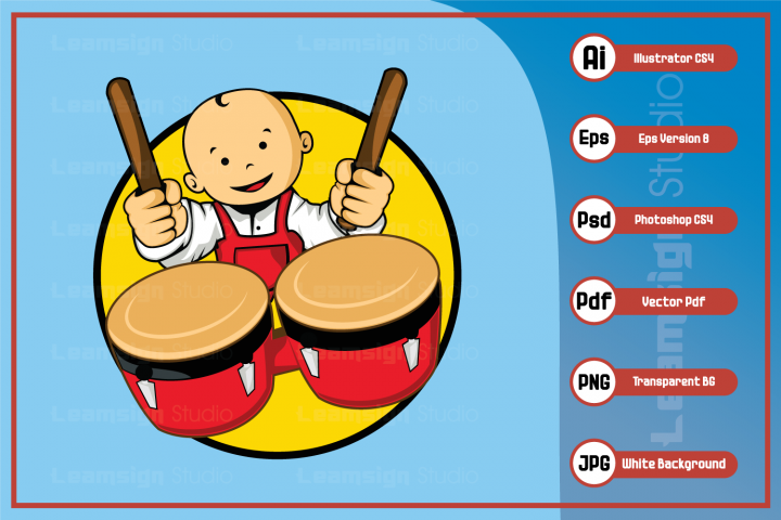 Mascot cartoon Illustration - Baby playing drum character
