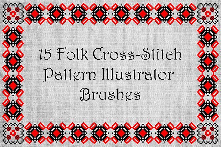 Ancient Folk Cross-Stitch Ornament-Adobe Illustrator Brushes