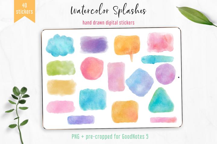 Digital Stickers Watercolor Splashes