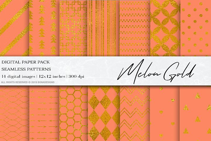 Melon Gold Digital Papers, Gold Patterns, Wedding Background