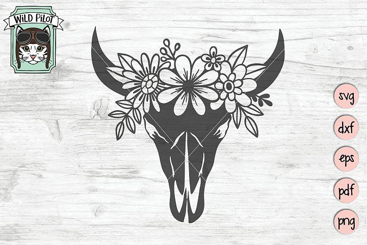 Cow Skull svg file, Cow Skull cut file, Cow Skull Flowers