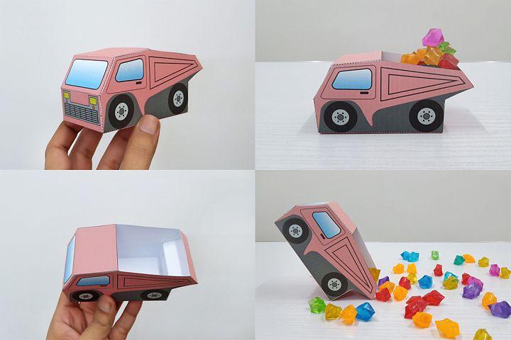 DIY Dump truck favor,Party favor,Papercraft Dump truck model