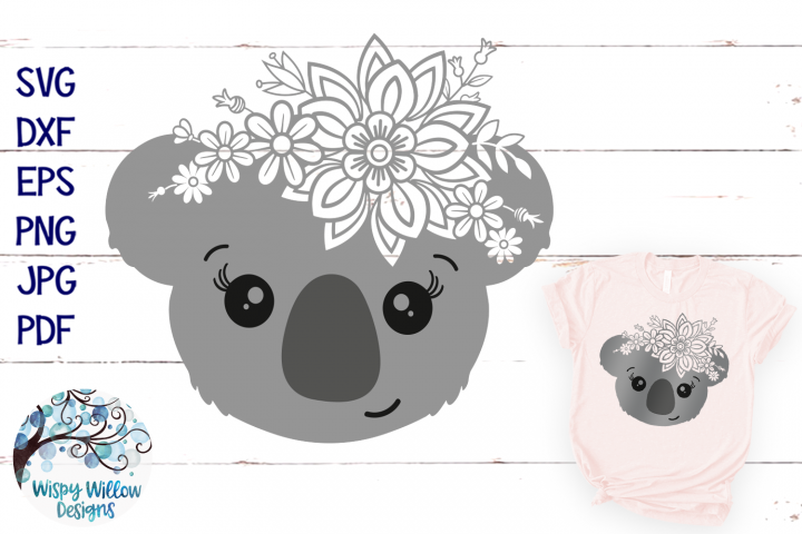 Floral Koala SVG | Girl Koala Face SVG Cut File