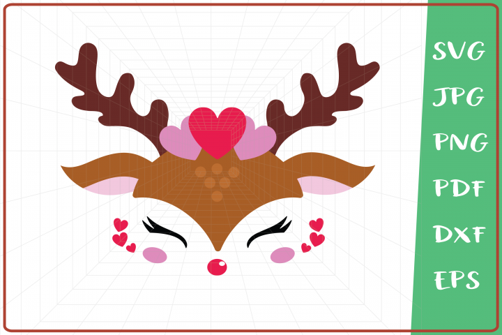 Raindeer svg, Raindeer Girl svg, Raindeer Hearth svg