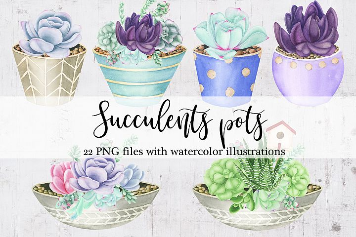 Watercolor Succulents Pots Clipart