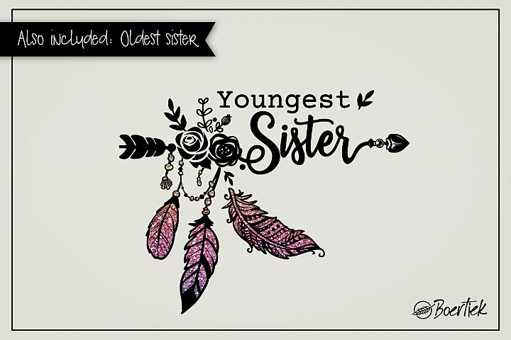 Youngest- and oldest sister, two SVG cutfiles
