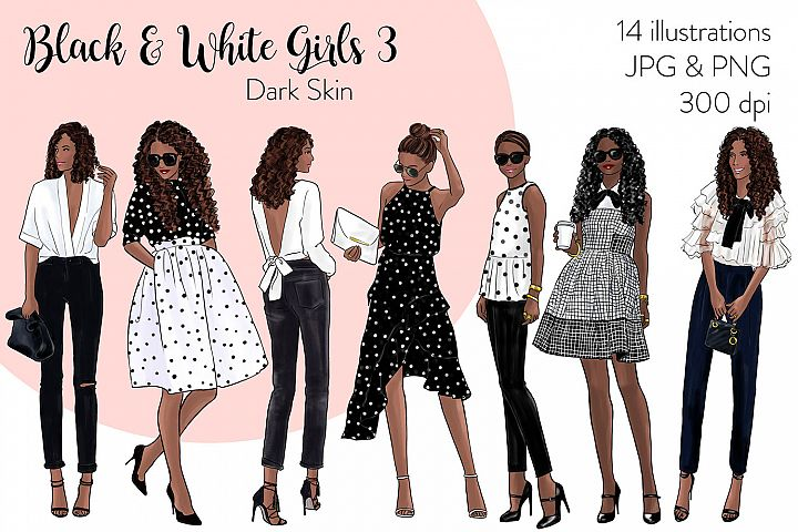 Fashion illustration clipart-Black & White Girls 3-Dark skin
