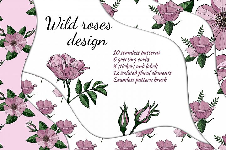 Wild roses. Seamless floral pattern. Greeting cards.