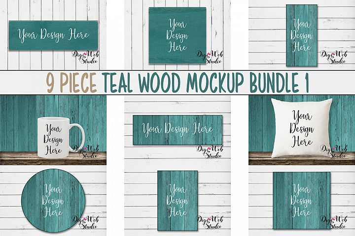 Mockup Bundle - Teal Wood Signs, Pillow & Coffee Mug