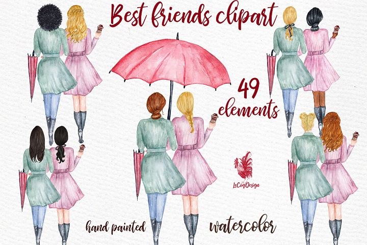 Best Friends Soul sisters clipart Fashion girl clipart