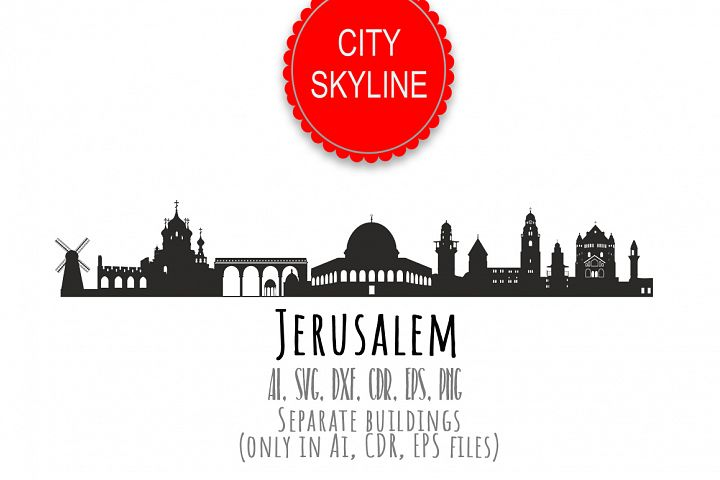 Jerusalem Svg Israel city Vector Skyline