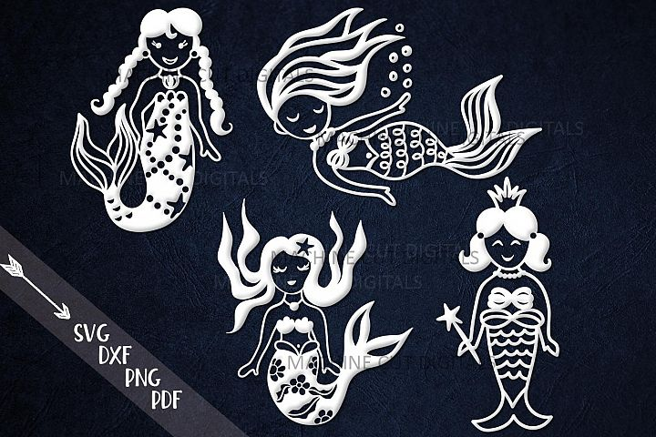 Cut out little mermaid bundle paper vinyl cut templates svg