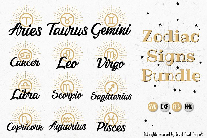 Horoscope Zodiac Signs Bundle- SVG, EPS, PNG, EPS