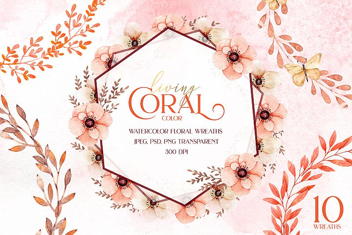 Living coral watercolor wreaths