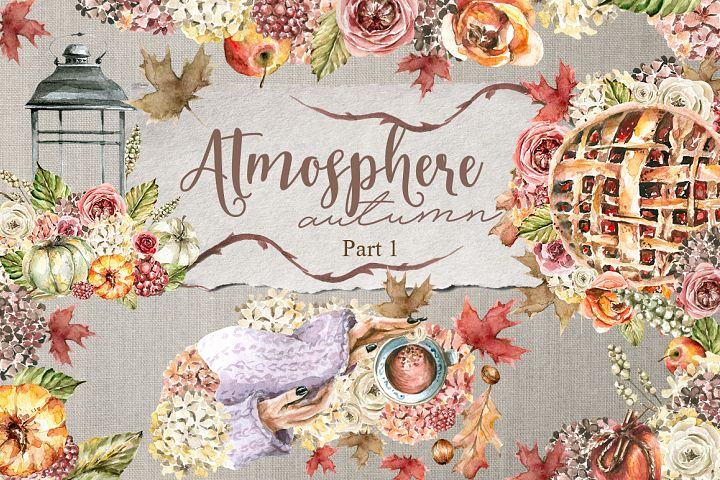 Atmosphere - autumn. Part 1. Watercolor collection