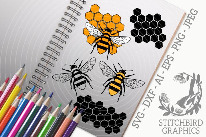Detailed Bumblebees Bundle SVG, Silhouette Studio, Cricut
