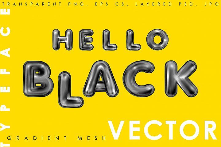 Hello Black. Alphabet and numerals