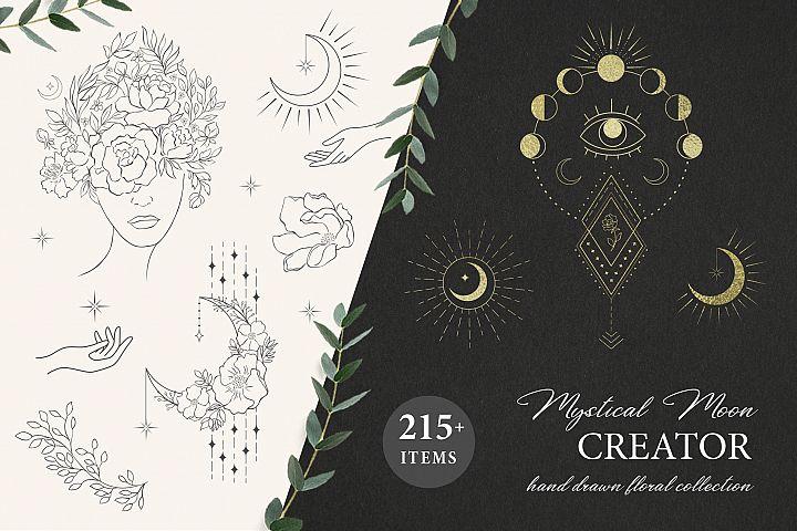 Mystical Moon. Trendy Design Creator.
