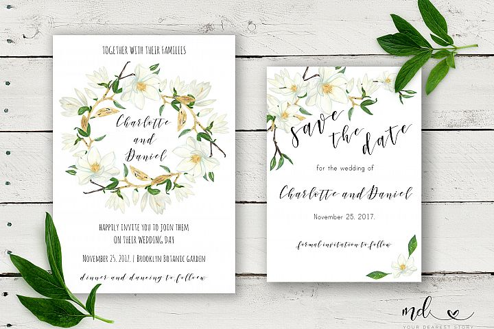 Magnolia Wedding Invitation & Save the date