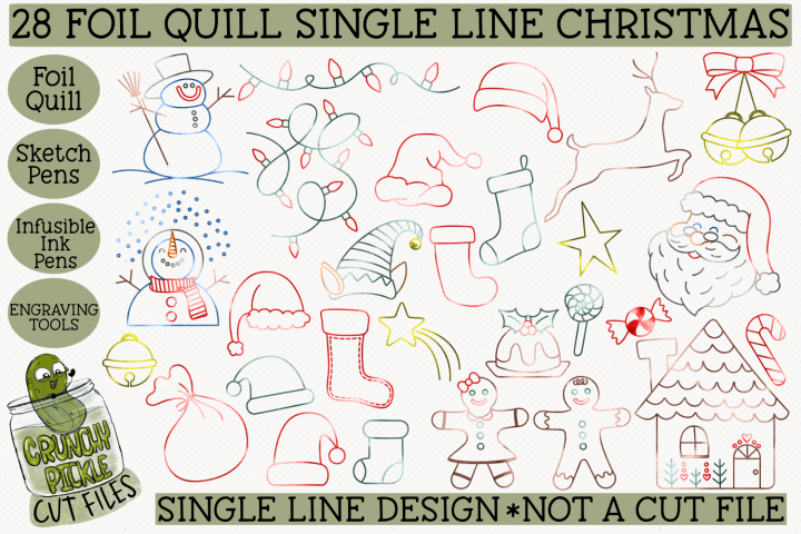 28 Foil Quill Christmas Things Set / Single Line Sketch SVG