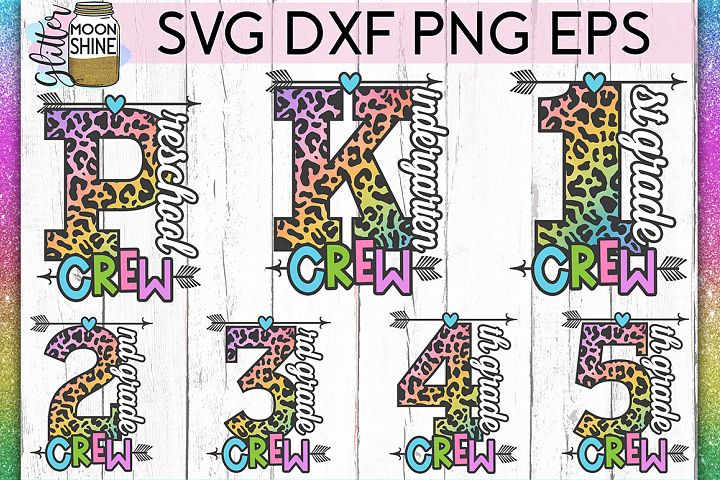 School Crew Bundle of 7 SVG DXF PNG EPS Cut Files