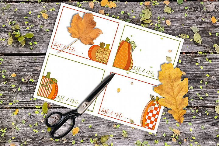 Flat Note Card, Post Card, Pumpkin Patch Prints Set 5
